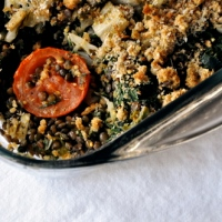 Lentil, Chard and Roast Plum Tomato Gratin